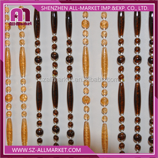 Amber brown ball and rod Beaded wedding curtain AM2246A