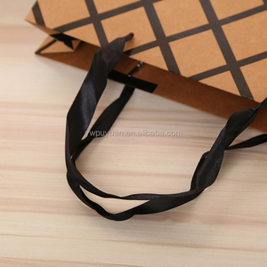 Cheap brown printed logo brown kraft paper bag with twisted paper handle