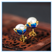 New Cloisonne flower natural pearl Gold-plated earrings 925 sterling silver jewelry ornaments wholesale