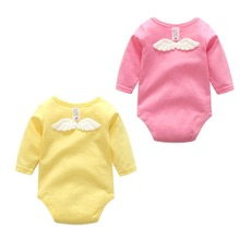 Infant Baby Kids Girls Cute Plain Solid Color Long Sleeve Cotton Rompers