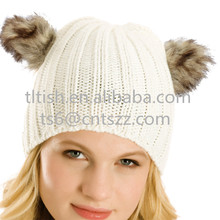 Popular fashion top sale animal ears long fur hat