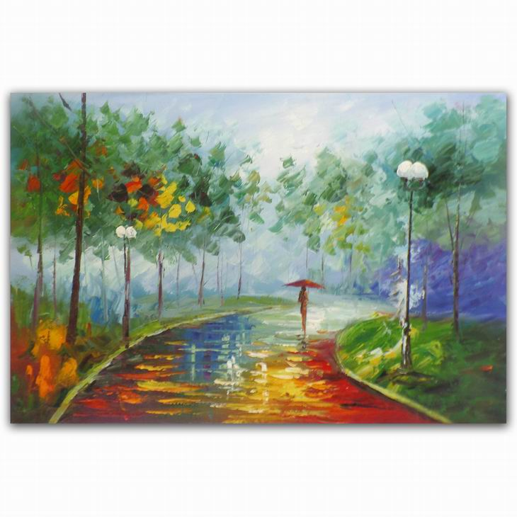 High quality beautiful girl in street scenery oil painting modern metal wall art