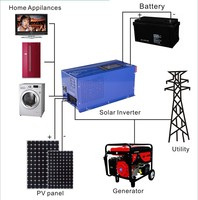 Short circuit protection 50Hz 12V 110V ac wind solar system 2000w inverter and converter