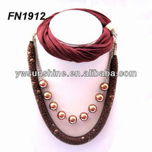 Wholesale jewel scarf with pearl necklace