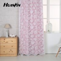 beautiful pink lace warp knitting lace curtain fabric for interior decoration