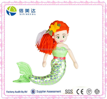The Sparkling Little Mermaid Soft Plush Doll with Green dress and orange hair