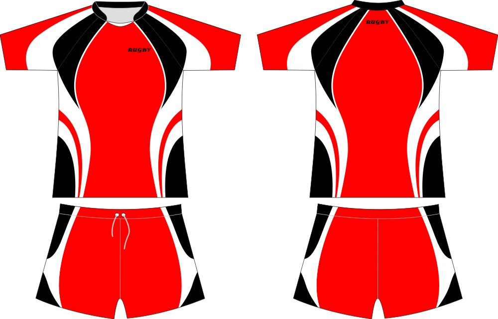 SF-RG161 red rugby set/uniform rugby/jersey and short
