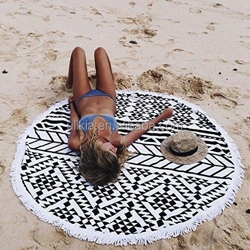 2017 Summer Large <strong>Cotton</strong> And Synthetics Round Beach Towel New Fashion Style Printed White & Black Circle Beach