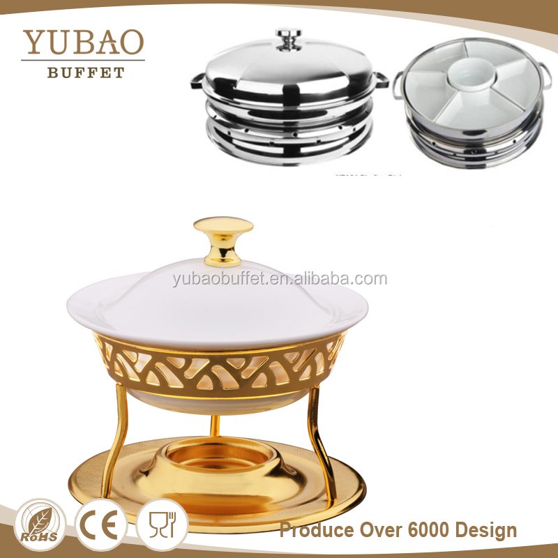 Yubao buffet factory round ceramic party food warmer and hot divided plate chafing dish