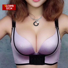 Adjustable Sexy Mature Hot Push Up Girl Thinner Bra With Pad No Rims Comfortable Bra With Front Buckle