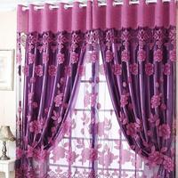 Shade Sheer Rich Flowers Pattern Curtains With Tulle Voile Door Window Curtain Drape Panel New
