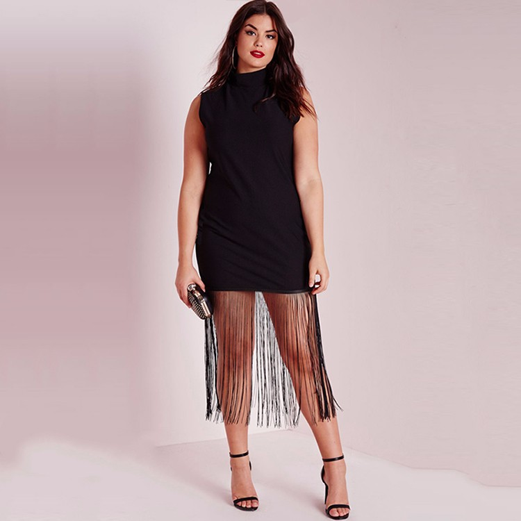 HAODUOYI Woman Plus Size Black Sleeveless Fringe Tassel Bodycon Dress