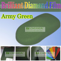 Brilliant Diamond 1.52*30m Bubbles Free Vinyl Film Army Green Car Body Protection Film Stickers