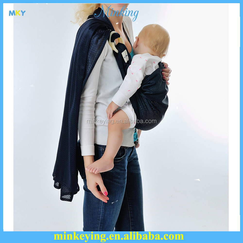 cotton high quality strong plastic ring portable baby sling/ baby carrier carrier with pocket