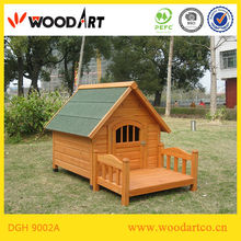 Delicate Yellow Wooden Dog Kennel with Veranda
