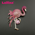 80mm Large Fashionable Crystal Rhinestone Pink Flamingo Bird Brooch