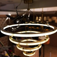 Modern Hanging Gold Big Art Deco Copper Brass Circle Led Ring Light Chandelier