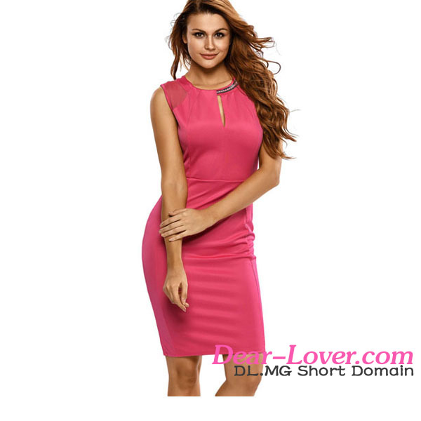 Ladies Office Dresses 2017 Newly Hot Sexy Pink Midi Dress With Chain Detail