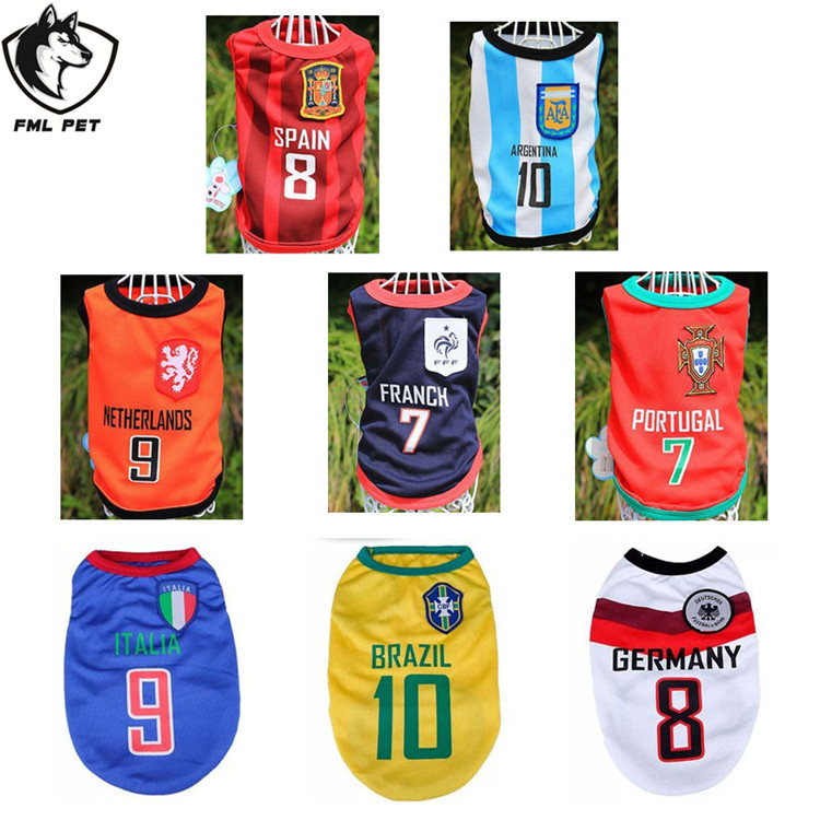 XS-XXL The World Cup Pattern Polyester Pet Dog Clothing Products For Small Dogs Cats Pets Dogs Clothes