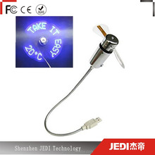 Flexible soft blades mini usb flash led fan with real time temperature display_HL3740