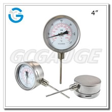 High quality 4 inch bottom connection bayonet ring stainless steel dial thermometer