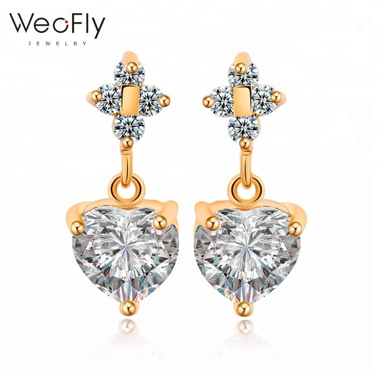 2018 New arrival AAA cubic zircon heart crystal drop earring delicate <strong>jewelry</strong> for women