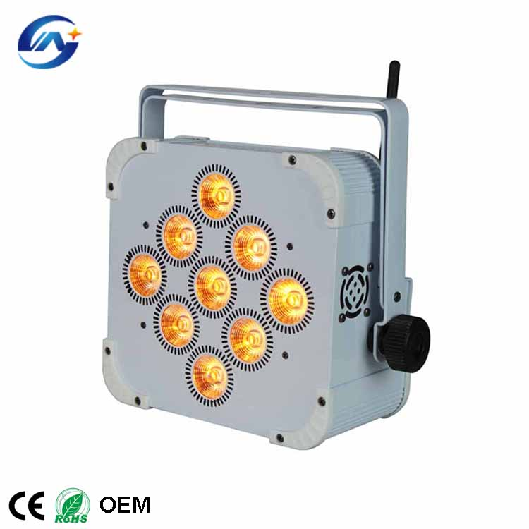 9X18W Flat rechargeable battery powered wireless dmx led uplighting wedding stage light