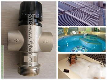 China supplier factory DN32 solar heater 3 ways thermostatic mixer valves