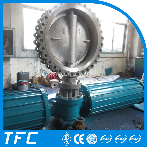 worm gear drive operated 10 inch CS double offset butterfly valve WCB manufacture for wholesales
