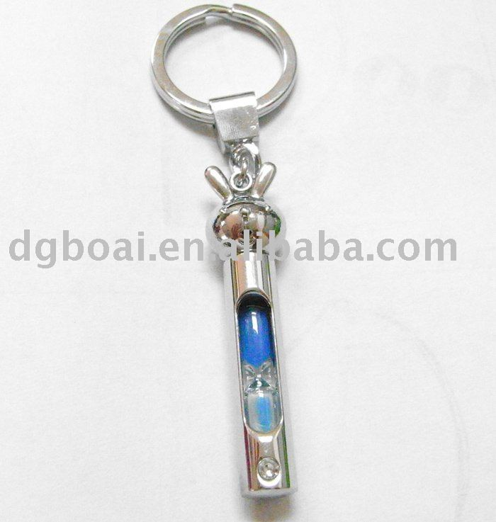 Fashion key chain with float sand