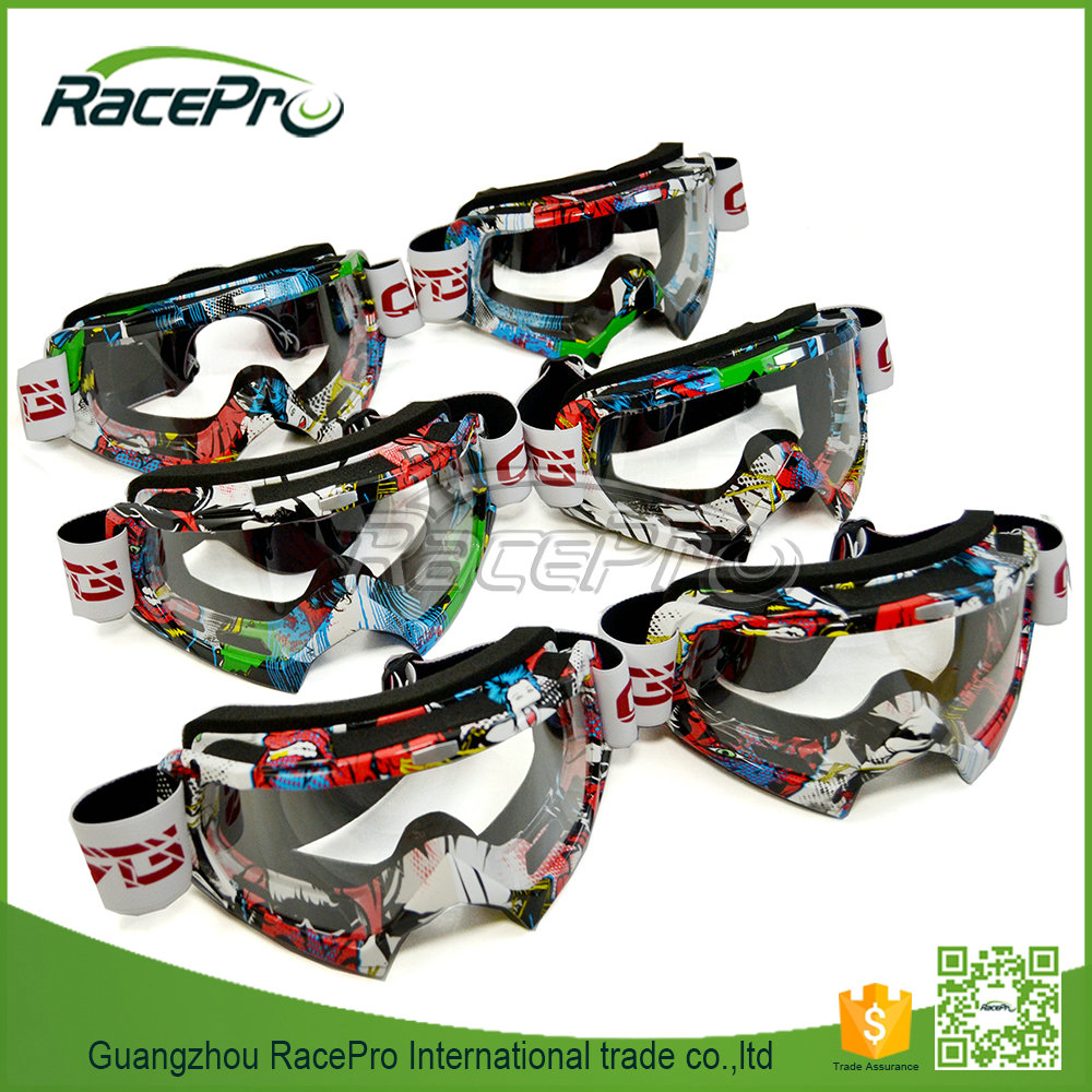 HD clear lens motorcycle goggles, hot sell colorful frame motorcycle riding glasses