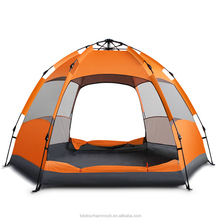 Hexagonal Bear Resistant Double Layers Winter Camping Tent 5-8 Person Automatic Pop Up Camping Family Tent