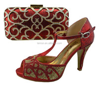 Italian Matching Shoes and Bag Set in red color 1307-L12