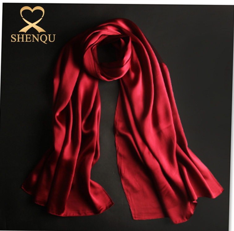 High quality 175*55cm coloful elegant 100% Chinese dark red silk women scarf