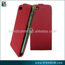 red flip up and down PU leather case for iphone5