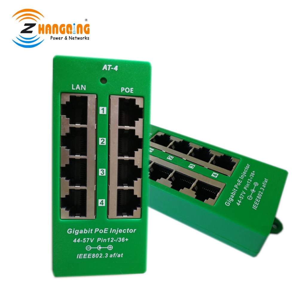4 port Gigabit Active PoE Injector 48V 56V auto negotiating injector Midspan PoE Patch Panel For Cisco, IP Camera, IP Phone