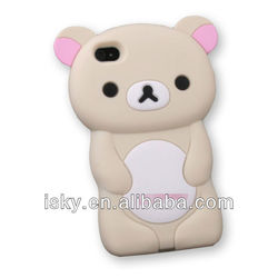 Cute Rilakkuma Bear Silicone Case Cover for iPhone 4 4S 4G