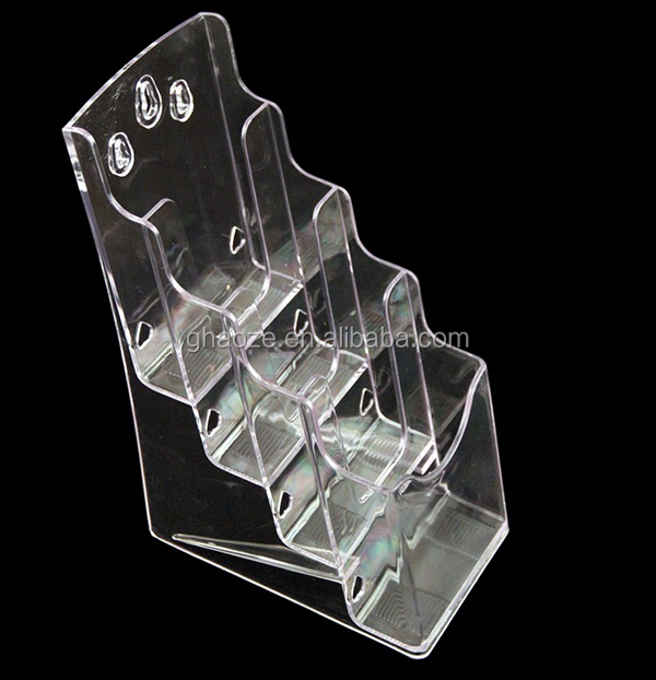 4 Tier A5 A6 A4 Transparent Brochure Holder Wall Mounted or Use On a Counter Top Factory
