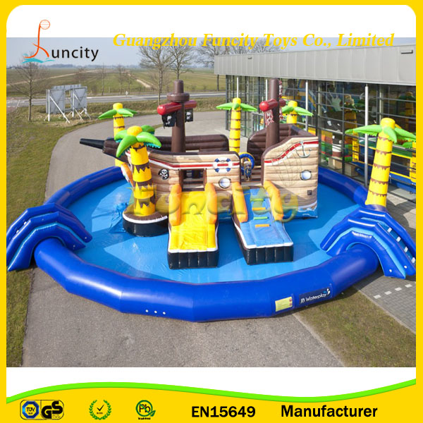 Commercial Grade Jumbo Amusement Park, Pirate Ship Inflatable Water Slide Boat, Inflatable Bouncy Castle with Water Slide