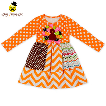 Thanksgiving Day Style Orange Polka Dots Long Sleeve Embroidery Turkey Dress Top Giggle Moon Remake Kids Girl Clothing Set