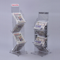 tall clear newspaper holder acrylic newspaper display stand