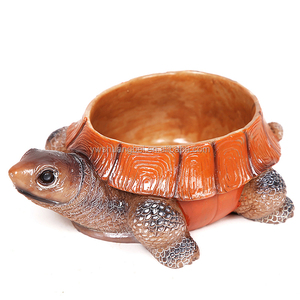 Wholesale plastic and creative tortoise resin vase animal flower pot for home decoration