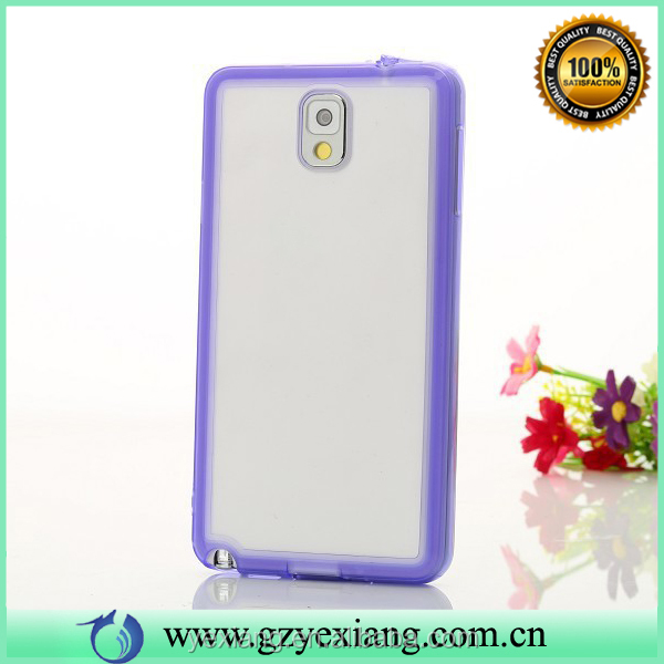 Bulk Sale TPU Bumper With Clear Hard Back Case For Samsung Galaxy Note 3 I9000 I9002 I9005