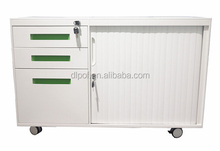 CKD White long steel mobile caddy pedestal/tambour door filing cabinet/office cabinet furniture with roller shutter door