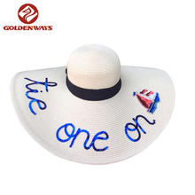 New Design Good Quality Sequin Embroidery Wide Brim Straw Floppy Hat