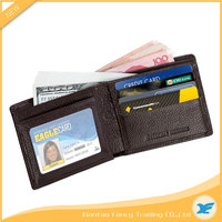 luxury 6 Card Slots Black Brown leather Money Case, Mens Travel Bifold Credit Card Wallet RFID with Gift Box