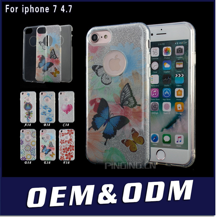 Hot Selling Products Customized CellPhone Case For Apple iPhone7 Case,Sparkle Glitter Mobile Case For iPhone 7 Plus