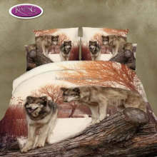 High quality living room wolf pattern 3d printed queen 4pcs microfiber bedding set
