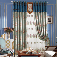fashion designs chenille jacquard curtain with attached valance