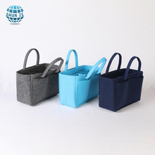 Wholesale fashion portable cosmetic felt handbag organizer custom print logo felt tote bags